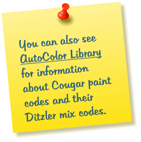 You can also see AutoColor Library for information about Cougar paint codes and their Ditzler mix codes.